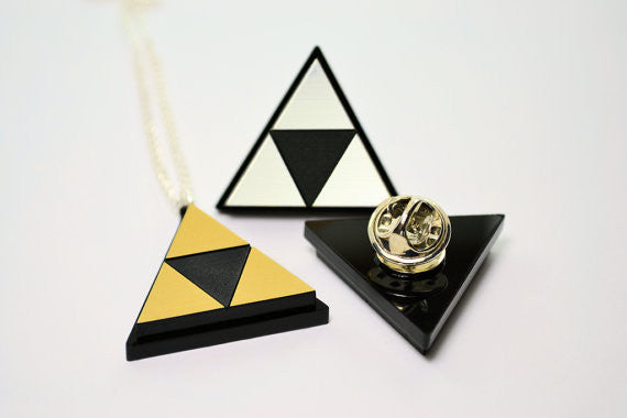 Zelda Triforce Pin Back - Tie Tack - Bag Pin -Laser Engraved Brushed Silver or Gold Acrylic
