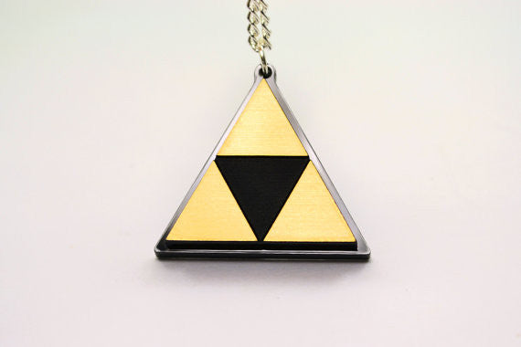 Zelda Triforce Necklace -Laser Engraved Silver or Gold Acrylic - Limited Time Sale Price