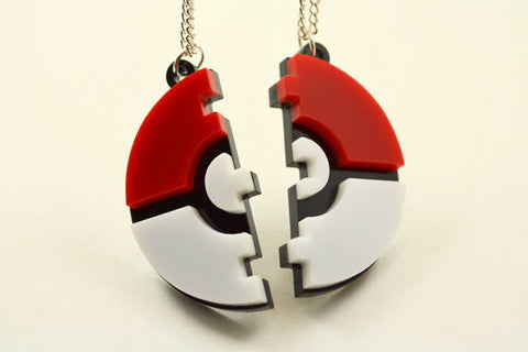 Pokeball Friendship Necklaces - Laser Cut Acrylic