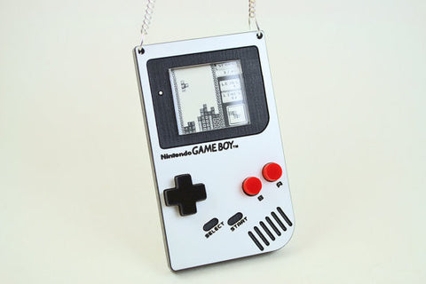 Oldschool Gameboy Necklace - Laser Engraved Keepsake Locket - Laser Cut Acrylic Pendant Necklace