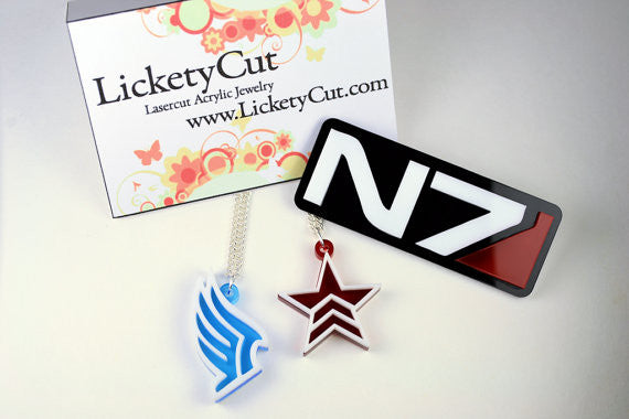 Mass Effect Paragon Renegade Stud Earrings - Laser Cut Acrylic