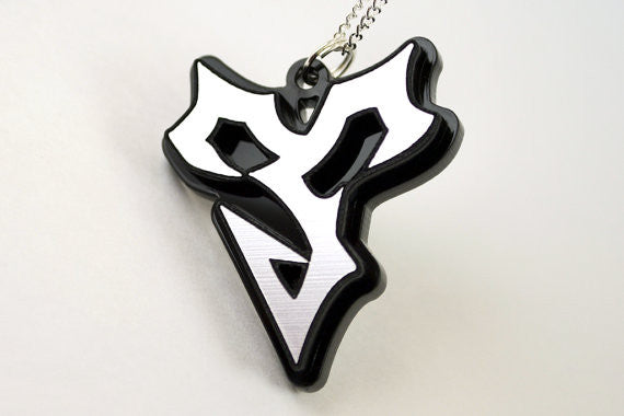 Final Fantasy Tidus Pendant Necklace - Laser Cut Acrylic - Laser Engraved Silver on Black