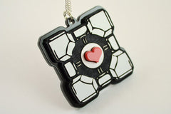 Portal Companion Cube Necklace - Grey - Laser Engraved Acrylic