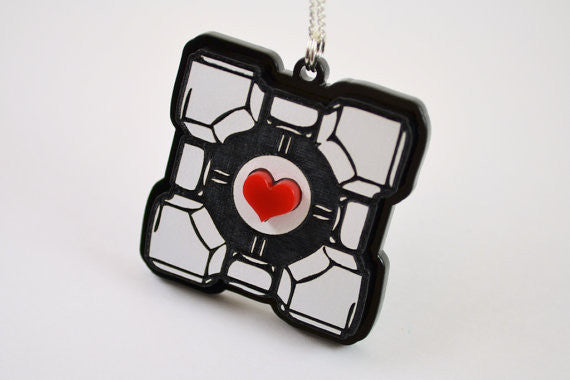 Portal Companion Cube Friendship Necklaces - 25% Sale - Laser Engraved Acrylic