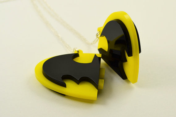 Batman Friendship Necklaces - Laser Cut Acrylic - Snap Together Best Friend Necklace Pair