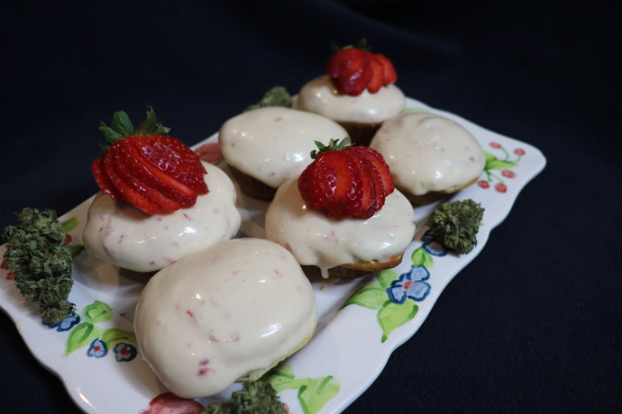 Strawberry Vanilla Cannabis Cupcakes