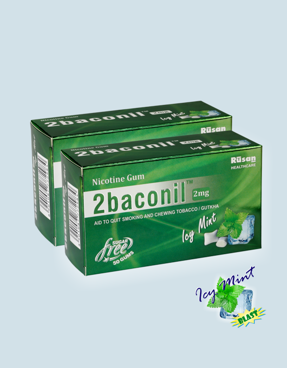 2baconil <sup>®</sup> Nicotine Gum 2 mg 100 gums pack of 2