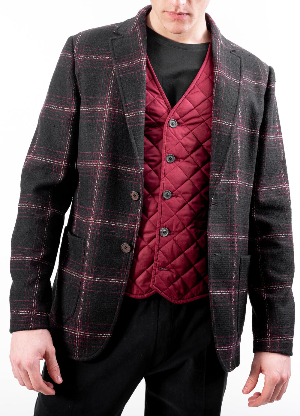 Gilet monopetto bordeaux