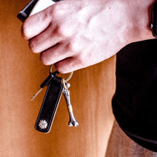 Load image into Gallery viewer, Leather Keyring with Silver Decoration