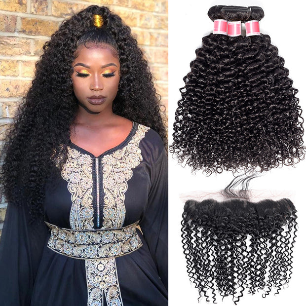 Hermosa Kinky Curly Hair Bundles With Frontal Virgin Human Hair Bundles With Closure Brazilian Hair Weave Bundles With Closure