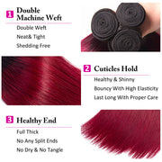 Ombre 1b/99j Brazilian Virgin Straight Hair 3 Bundles 10A Unprocessed 100% Human Hair Weave