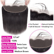 HD Transparent Lace Frontal Straight 13x4 Ear to Ear Lace Frontal Human Hair 12A Best Quality