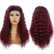 99J Burgundy Color Headband Wigs Deep Wave Human Hair
