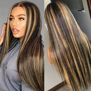 #1B/27 Highlight Wigs Straight Human Hair 4x4/13x4/T Part Transparent Lace Wig
