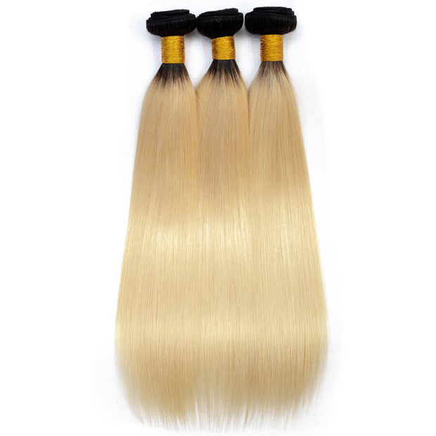 1b/613 Ombre Blonde Brazilian Virgin Straight Hair 3 Bundles Unprocessed 100% Humanm Hiar Weave Extensions