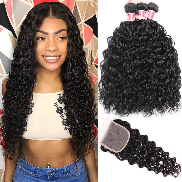 4x4 Transparent Lace Closure With Bundles Brazilian Water Wave Remy Human Hair Weave