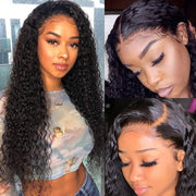Kinky Curly 150% Density 4x4 Lace Front Wigs Pre-Plucked With Baby Hair