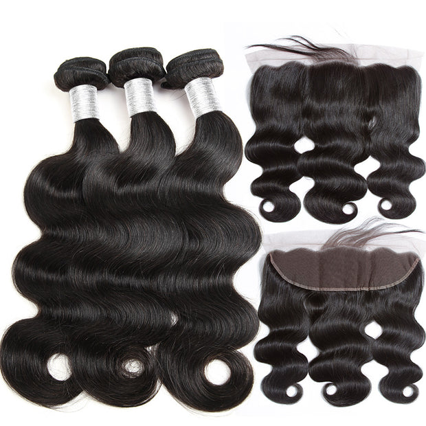 100% Human Hair 3 Bundles Brazilian Body Wave with Frontal Closure 13x4 Ear To Ear Lace Frontal Closure with Bundles