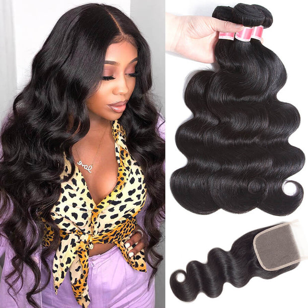 12A Brazilian Body Wave Hair 3 Bundles with Transparent Lace Closure Unprocessed Virgin Human Hair