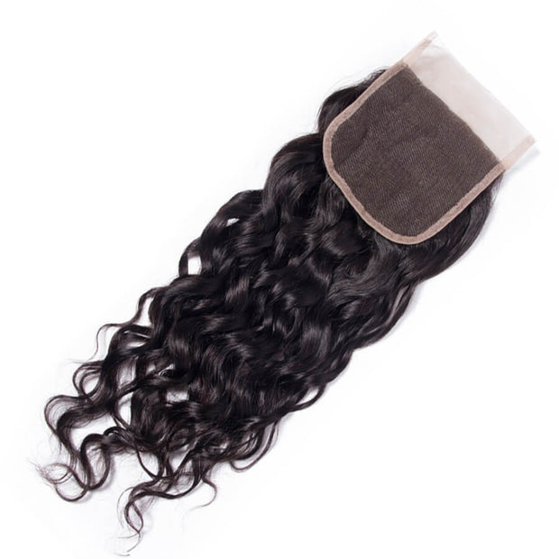 4x4 Lace Closure Water Wave Human Hair Closure Natural Black Hair Top Swiss Lace