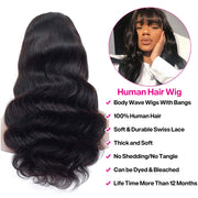 Hermosa Brazilian Body Wave Wigs With Bangs 150% Density Human Hair Wigs For Black Women Glueless Half Machine Made Remy Wigs