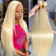 Color #613 Brazilian Straight Virgin Hair 3 Bundles 100% Unprocessed Human Hair Weave