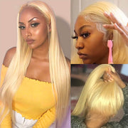 Straight 613 Blonde Lace Front Wig 100% Human Hair Wigs for Women 13x4 Pre Plucked Glueless Lace Wig Hermosa Hair