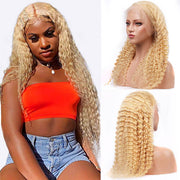 613 Deep Wave Wig Human Hair Pre Plucked T Part Transparent Lace Wig