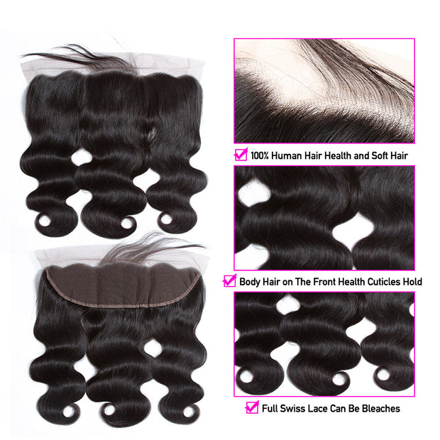 13x4 Ear To Ear Lace Frontal Closure with Bundles 100% Human Hair 3 Bundles Peruvian Body Wave with Frontal Closure