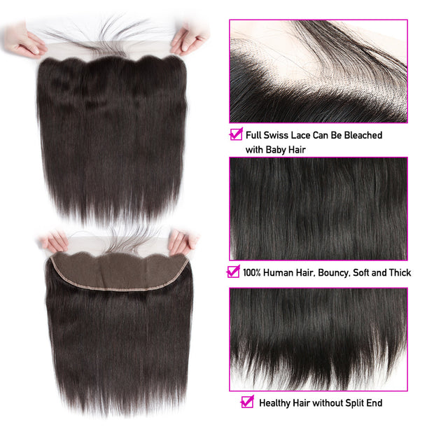 13x4 Ear To Ear Lace Frontal Closure with Bundles 100% Human Hair 3 Bundles Brazilian Straight Hair with Frontal Closure