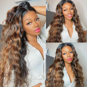 #27 Honey Blonde Wig 13*4 Lace Front Wigs Human Hair Body Wave Ombre Wig