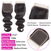 4x4 Lace Closure Body Wave Human Hair Closure Natural Black Hair Top Swiss Lace