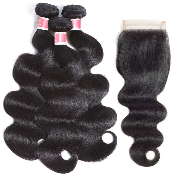 Brazilian Body Wave Hair 3 Bundles With Closure High Quality 100% Unprocessed Virgin Human Hair Bundles With Closure