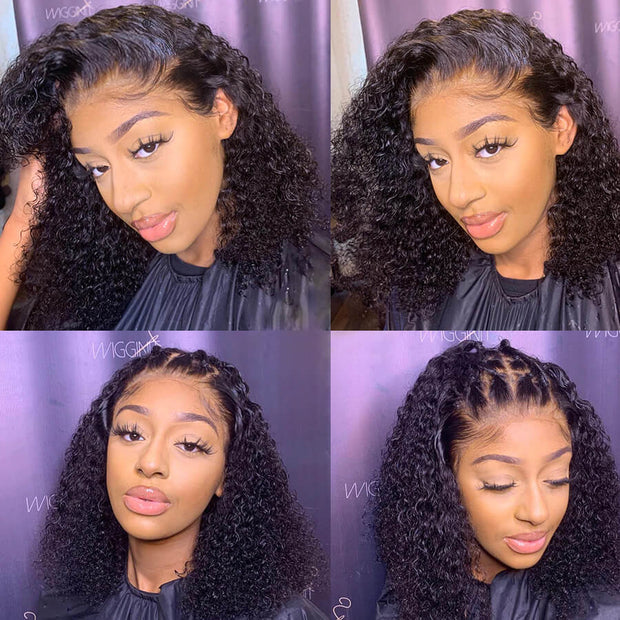 Short Curly Bob Lace Front Wigs Real Human Hair Wigs Pre Plucked Glueless Natural Looking Bob Wig 10A Quality Hermosa Hair