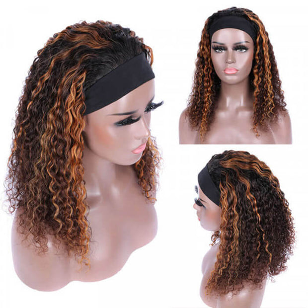 #4/30 Color Highlights Curly Hair Headband Wigs Human Hair