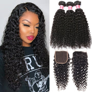 Brazilian Virgin Curly Hair 3 Bundles With Closure High Quality 100% Unprocessed Human Hair Bundles With Closure