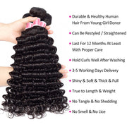 Brazilian Deep Wave Hair 3 Bundles With Closure High Quality 100% Unprocessed Virgin Human Hair Bundles With Closure