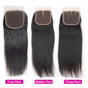 4x4 Lace Closure Straight Human Hair Closure Natural Black Hair Top Swiss Lace