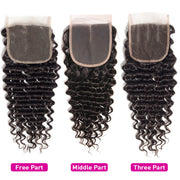 4x4 Lace Closure Deep Wave Human Hair Closure Natural Black Hair Top Swiss Lace