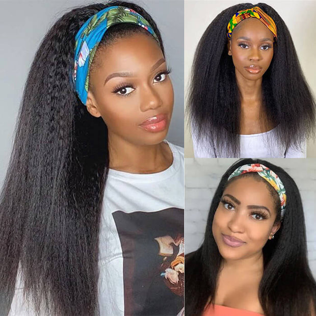 Kinky Straight Headband Wig Human Hair No Gel No Glue Wig
