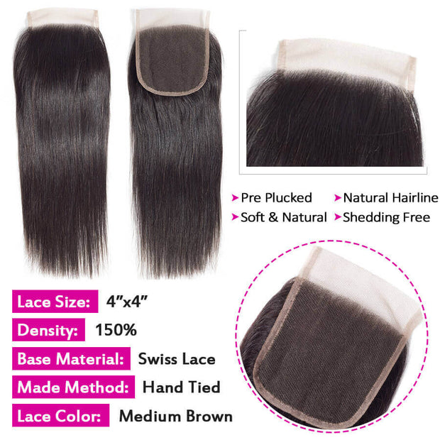 Brazilian Straight Hair 3 Bundles with Closure 100% Unprocess Virgin Human Hair Bundles with Closure Free Part/Middle Part/Three Part High Quality Hair