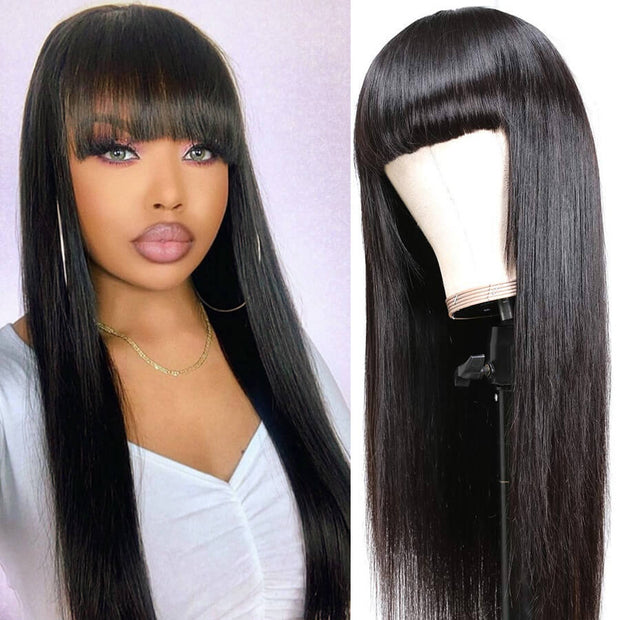 Straight Human Hair Wigs With Bangs 150% Density Pre Plucked Full Machine Made Wig With Bangs
