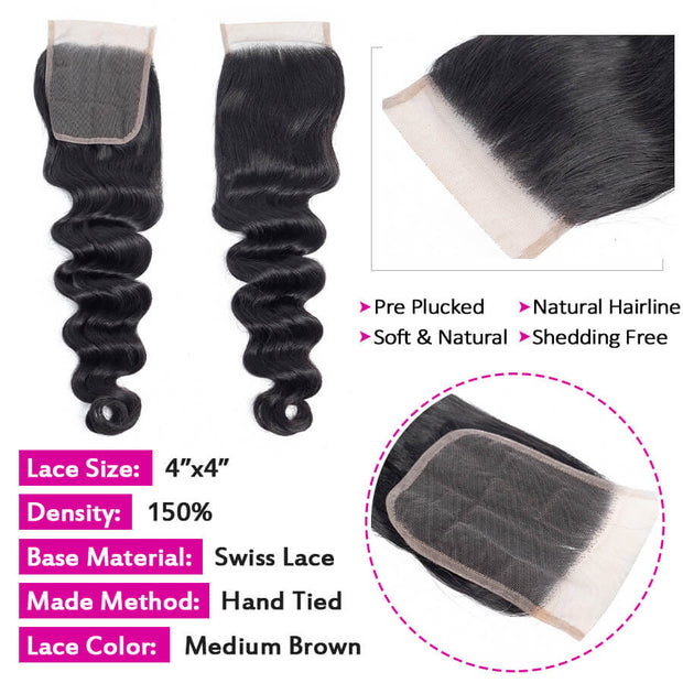 Brazilian Loose Deep Wave Virgin Hair 3 Bundles with Closure 100% Unprocess Human Hair Weave Bundles with Closure