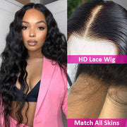 Transparent HD Lace Wig Loose Deep Wave Human Hair Wig Pre Plucked Realistic Look