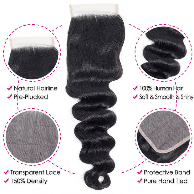 Cheap Brazilian Loose Deep Wave Hair 3 Bundles With 4x4 Transparent Lace Closure Remy Hair Weave