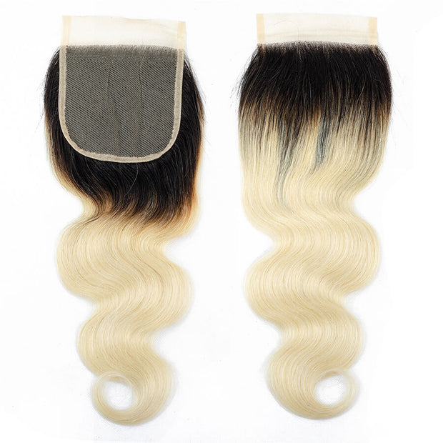 Ombre 1B/613 Brazilian Body Wave Human Hair 3 Bundles With Closure Remy Hair Weave