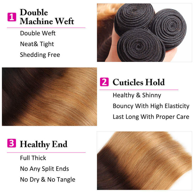 Ombre 1b/4/27 Brazilian Straight Hair 3 Bundles with Closure 100% Unprocessed Virgin Human Hair