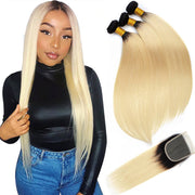 Ombre 1B/613 Brazilian Virgin Straight Hair 3 Bundles With Closure 100% Human Hair Weave