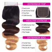 1b/4/27 Ombre Human Hair 3 Bundles with Closure Free Part Brazilian Body Wave Hermosa Hair