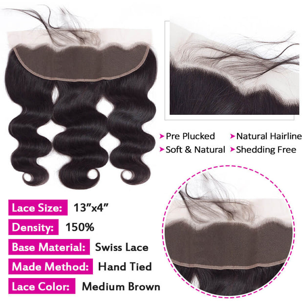 HD Transparent Lace Frontal Body Wave 13x4 Ear to Ear Lace Frontal Human Hair 12A Best Quality